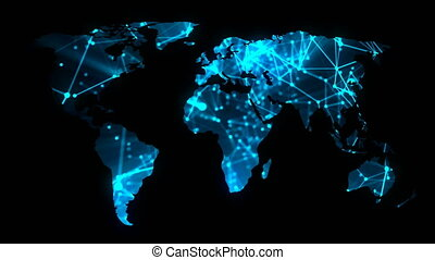 Modern communications network map of the world on dark background, 3D rendering