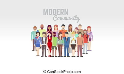 Modern community animation. Rapid emergence of group of people for market research and sales promotion