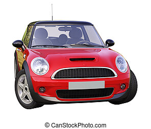 Modern compact car isolated on a white background