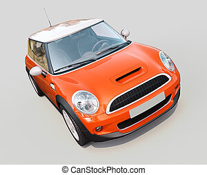 Modern compact car on a grey background