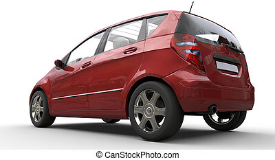 Modern Compact Car Red 2