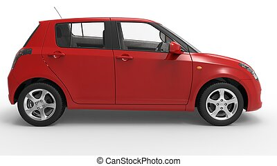 Modern Compact Car Red