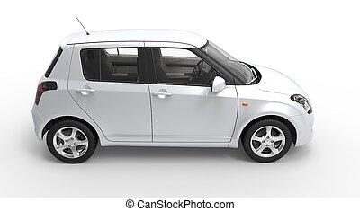 Modern Compact Car White