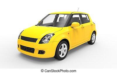 Modern Compact Car Yellow 3