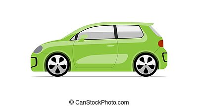 Modern compact city car in flat style. Side view of ...