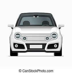 Modern compact city car mockup. Front view of realistic ...