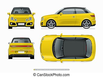 Modern compact city car mockup. Side, top, front and rear ...