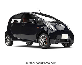 Modern compact electric black car - closeup