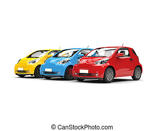 Modern compact urban electric cars in red, blue and yellow