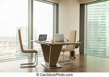 Modern company manager workplace in bright office