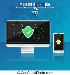 Modern computer and phone on a blue background. System security. Shield with multi-colored symbols on a light screen in a flat style. Hi-tech. Vector illustration