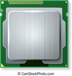 Modern computer core processing unit (CPU) isolated on white...