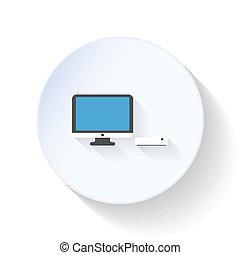 Modern computer flat icon