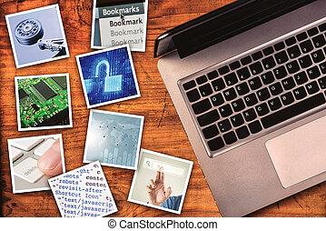 Modern computer information technology photo collage