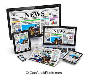 Modern computer media devices concept: desktop monitor, ...