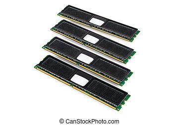 Modern computer memory modules with black radiator