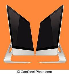 Modern computer on an orange background