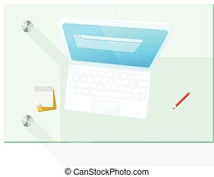 Modern computer on the table vector illustration