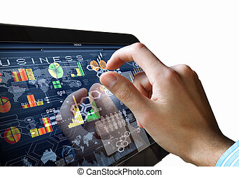 Modern computer technology in business illustration with...