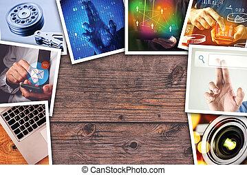 Modern computer technology photo collage