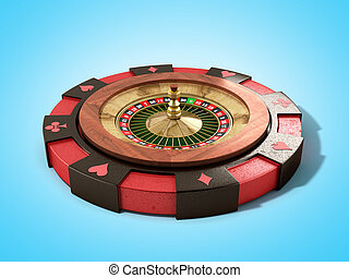 modern concept of the casino logo roulette is on playing props 3d render on blue