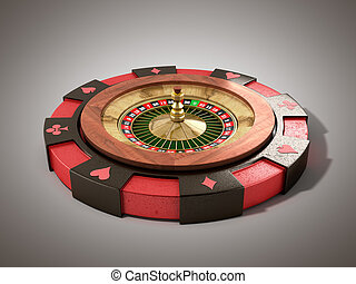 modern concept of the casino logo roulette is on playing props 3d render on grey
