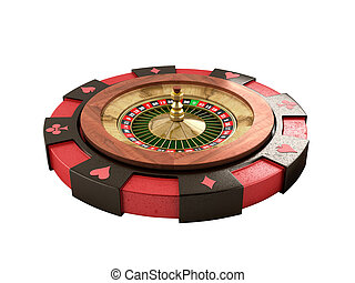 modern concept of the casino logo roulette is on playing props 3d render on white no shadow
