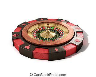 modern concept of the casino logo roulette is on playing props 3d render on white