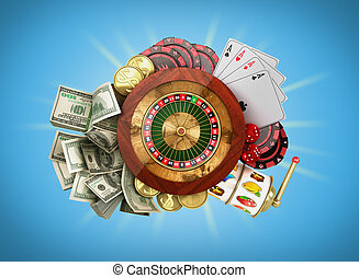 modern concept of the casino logo roulette is surrounded by playing props 3d render on blue