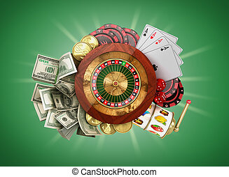 modern concept of the casino logo roulette is surrounded by playing props 3d render on green