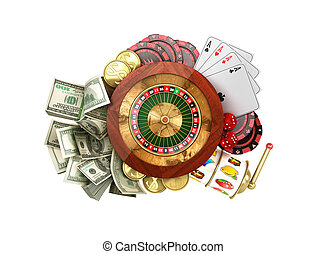modern concept of the casino logo roulette is surrounded by playing props 3d render on white