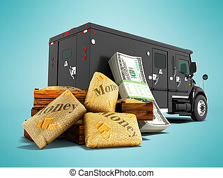 Modern concept of transporting money in bank of black truck with an armored car 3d render on blue background with shadow