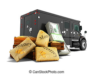 Modern concept of transporting money in bank of black truck with an armored car 3d render on white background with shadow