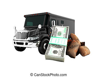 Modern concept of transporting money into a bank of black truck armored car front 3d rendering on white background no shadow