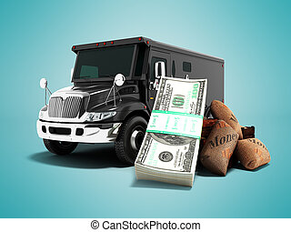 Modern concept of transporting money into a bank of black truck armored car front 3d rendering on blue background with shadow