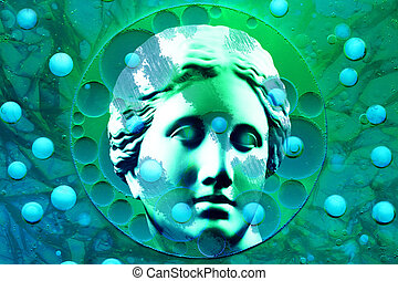 Modern conceptual art poster with ancient statue of bust Venus. Collage contemporary art. STD theme.