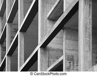modern concrete structure, building under construction construction, building, structure, concrete, reinforced concrete, outdoor, gray, pillares, girder, industry,
