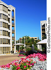 Modern condominium buildings - View of modern upscale...