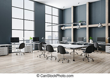 Modern conference interior with meeting table