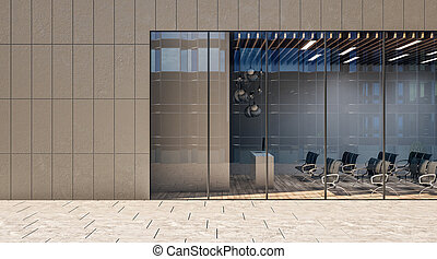 Modern conference room in business center with black chairs on wooden floor and glass wall.