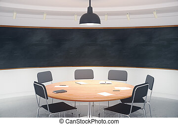 Modern conference room with furniture and blank blackboard on the wall, mock up