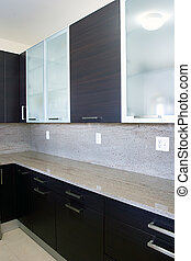 Modern contemporary style wood and glass kitchen cabinets
