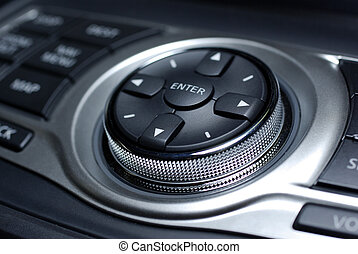 Modern control interface. Interior of luxury japanese car.