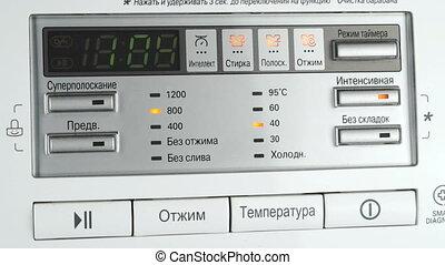 Modern control panel of the washing machine. Close up