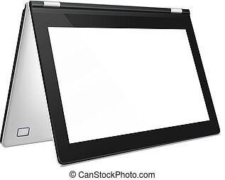 Modern convertible laptop with blank screen - Modern silver...