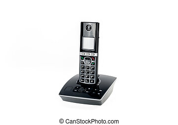 modern cordless dect phone with answering machine and charging station isolated on white backgound