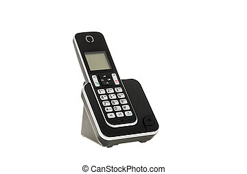 modern cordless landline dect phone with charging station isolated on white with clipping path. Design element