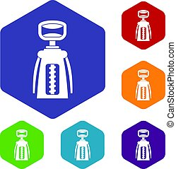 Modern corkscrew icons set hexagon isolated vector...