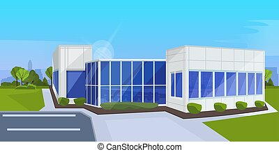 modern corporate architecture office building exterior with large panoramic windows commercial business center design landscape background flat horizontal