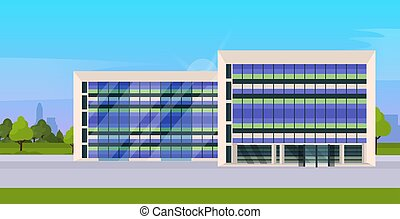 modern corporate architecture office building exterior with large panoramic windows flat